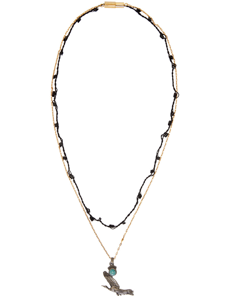 LANVIN Gold & Silver Bird Necklace