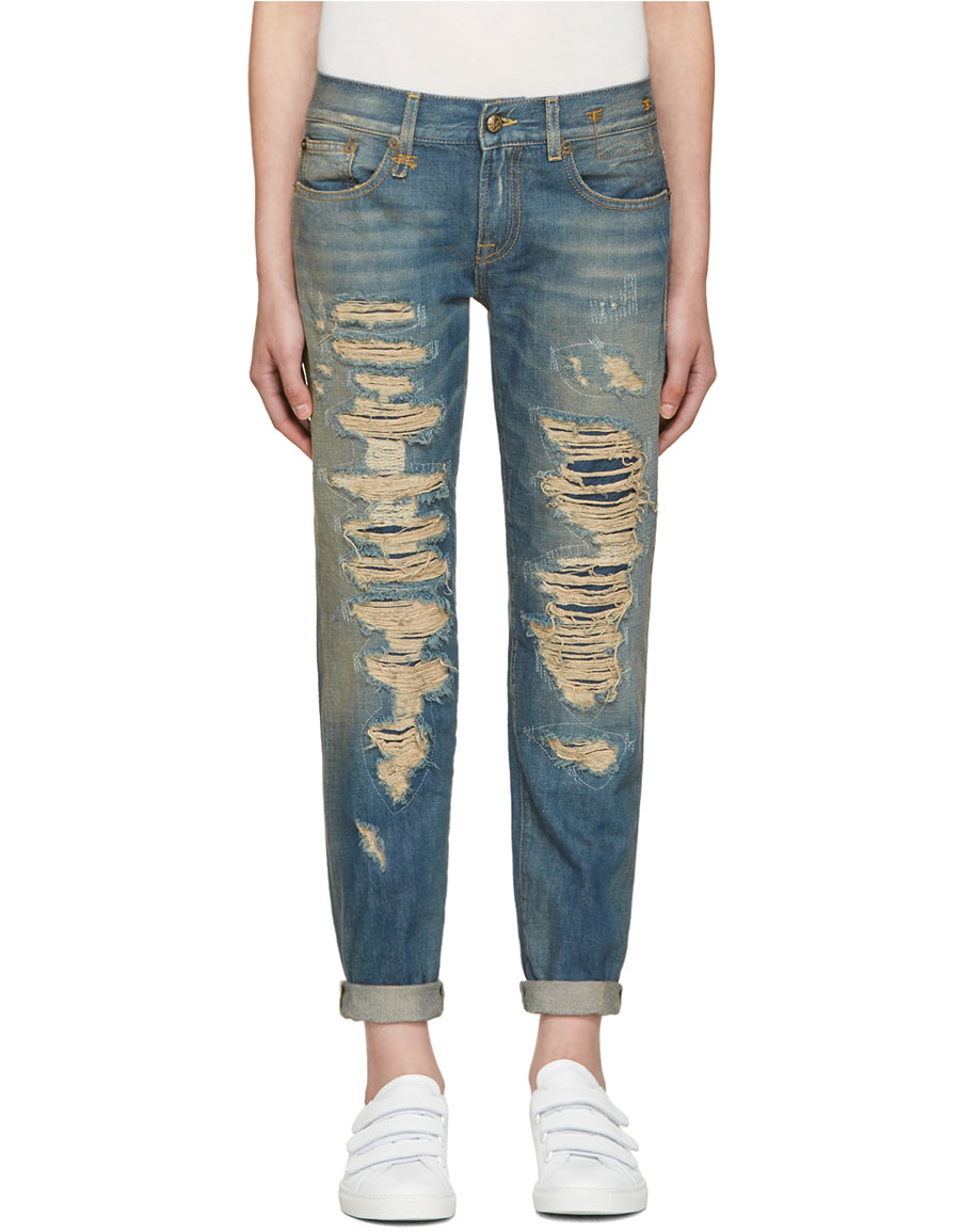 416f5c1a163c44 R13 Blue Relaxed Skinny Jeans · VERGLE