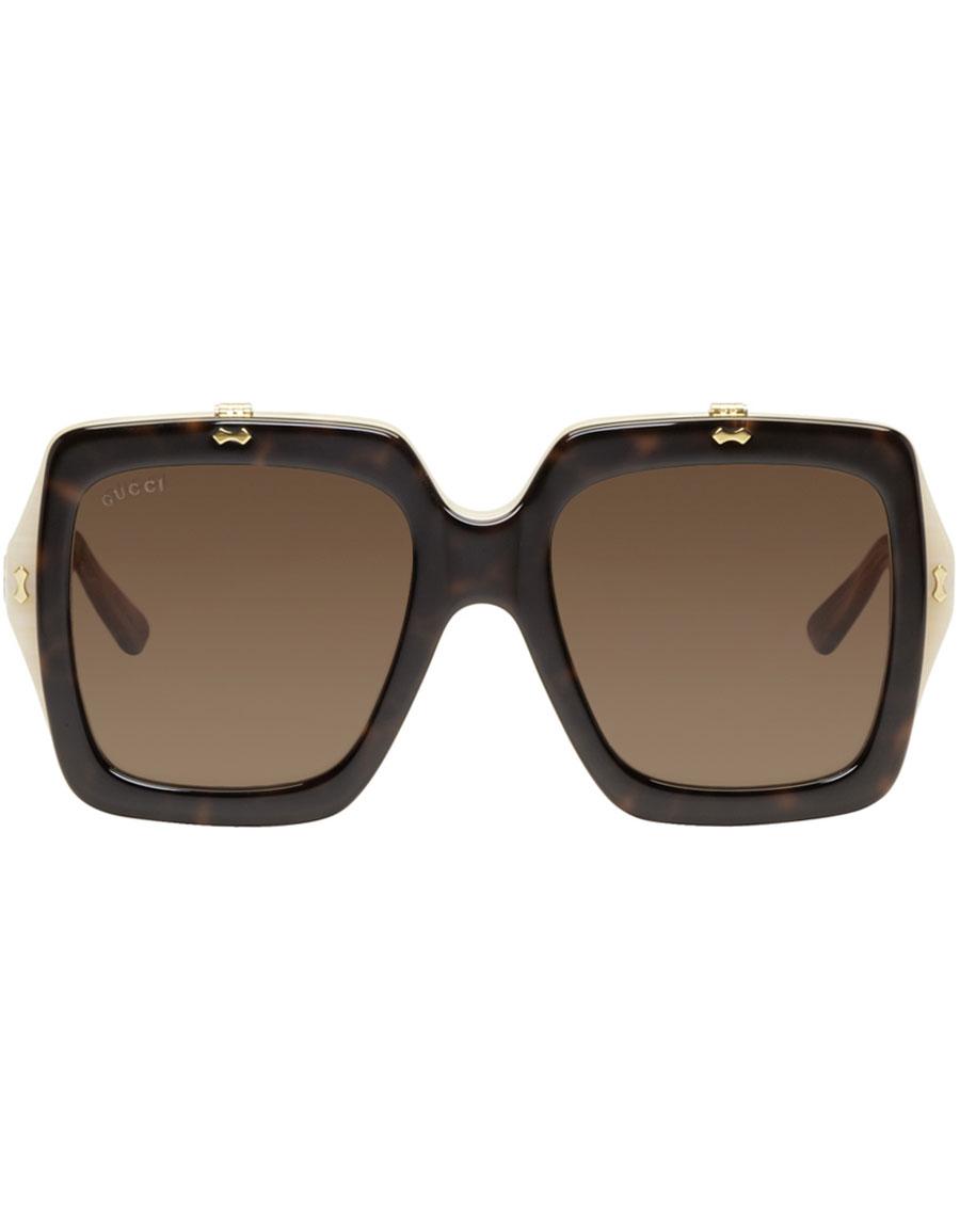GUCCI Tortoiseshell Large Square Flip Up Sunglasses