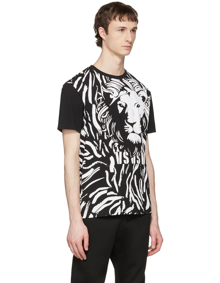 VERSUS Black Large Lion T Shirt