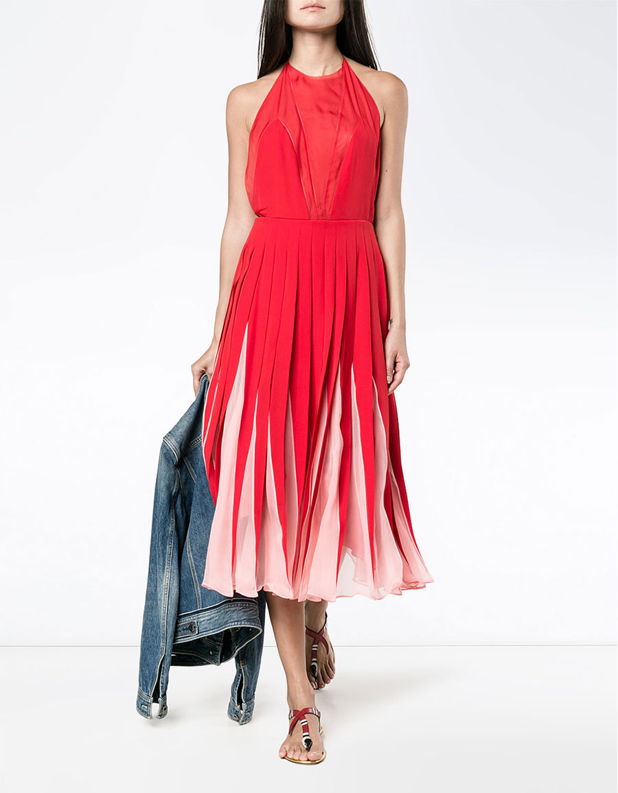 VALENTINO Backless Dress with Pleated Mid Length Skirt