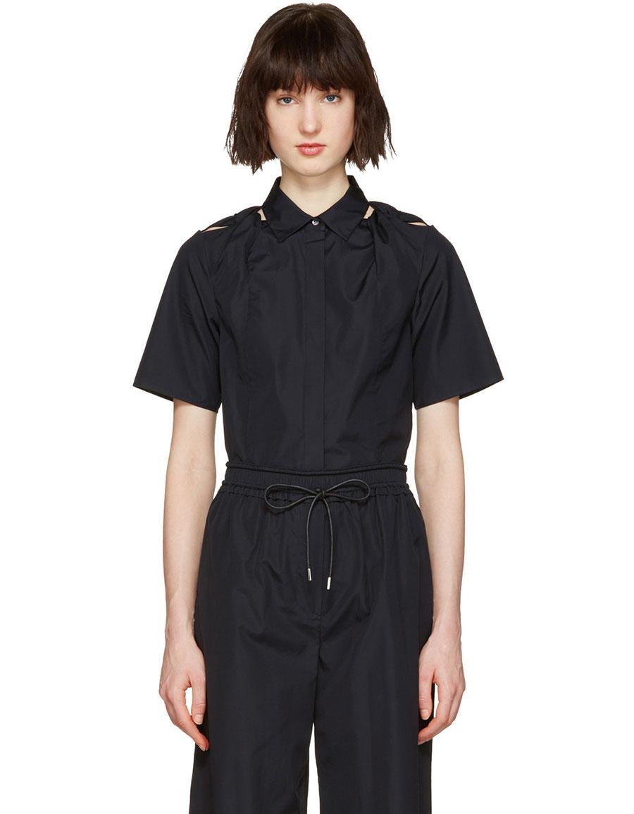 3.1 PHILLIP LIM Navy Shoulder Knot Shirt