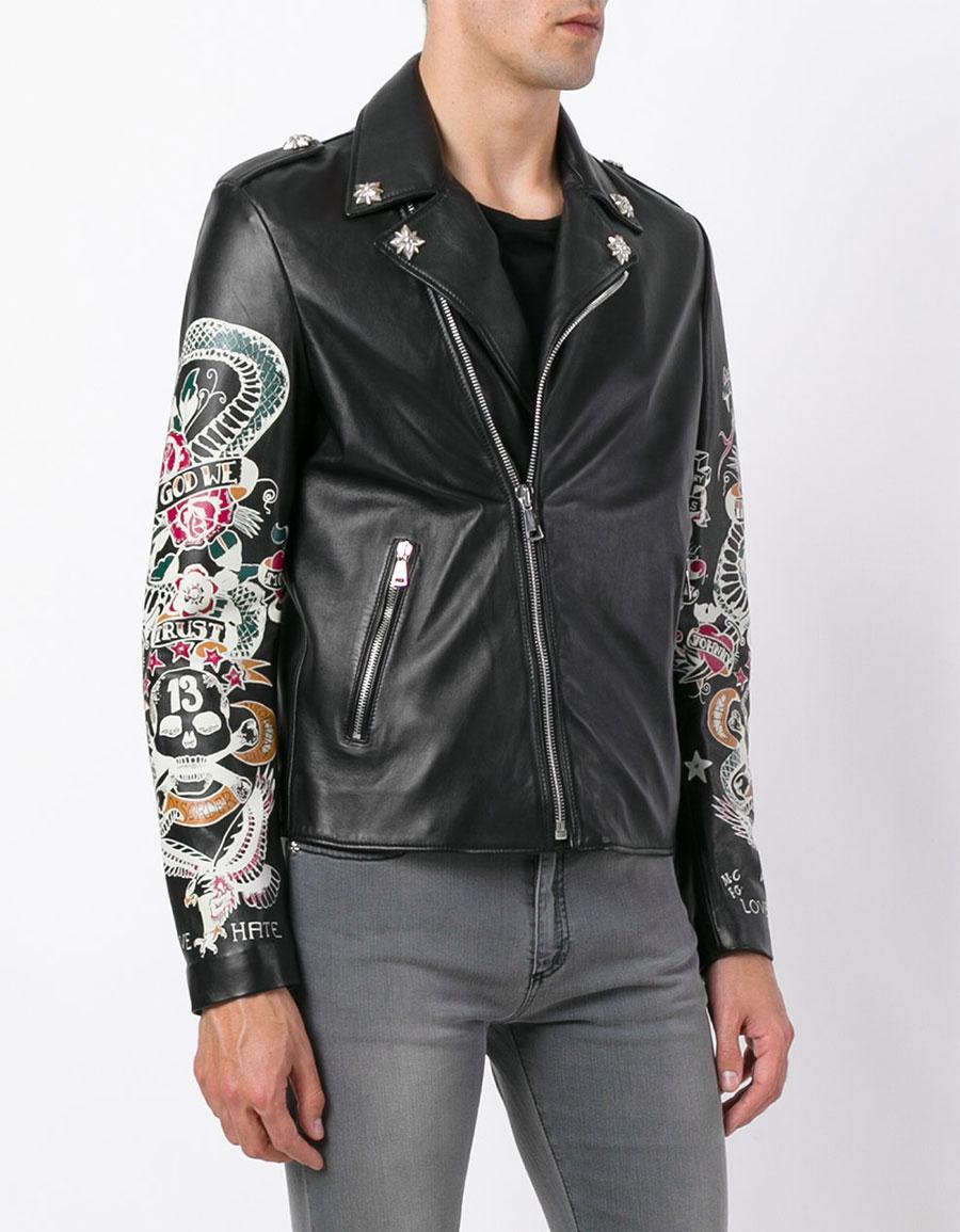 JOHN RICHMOND Tattoo print biker jacket