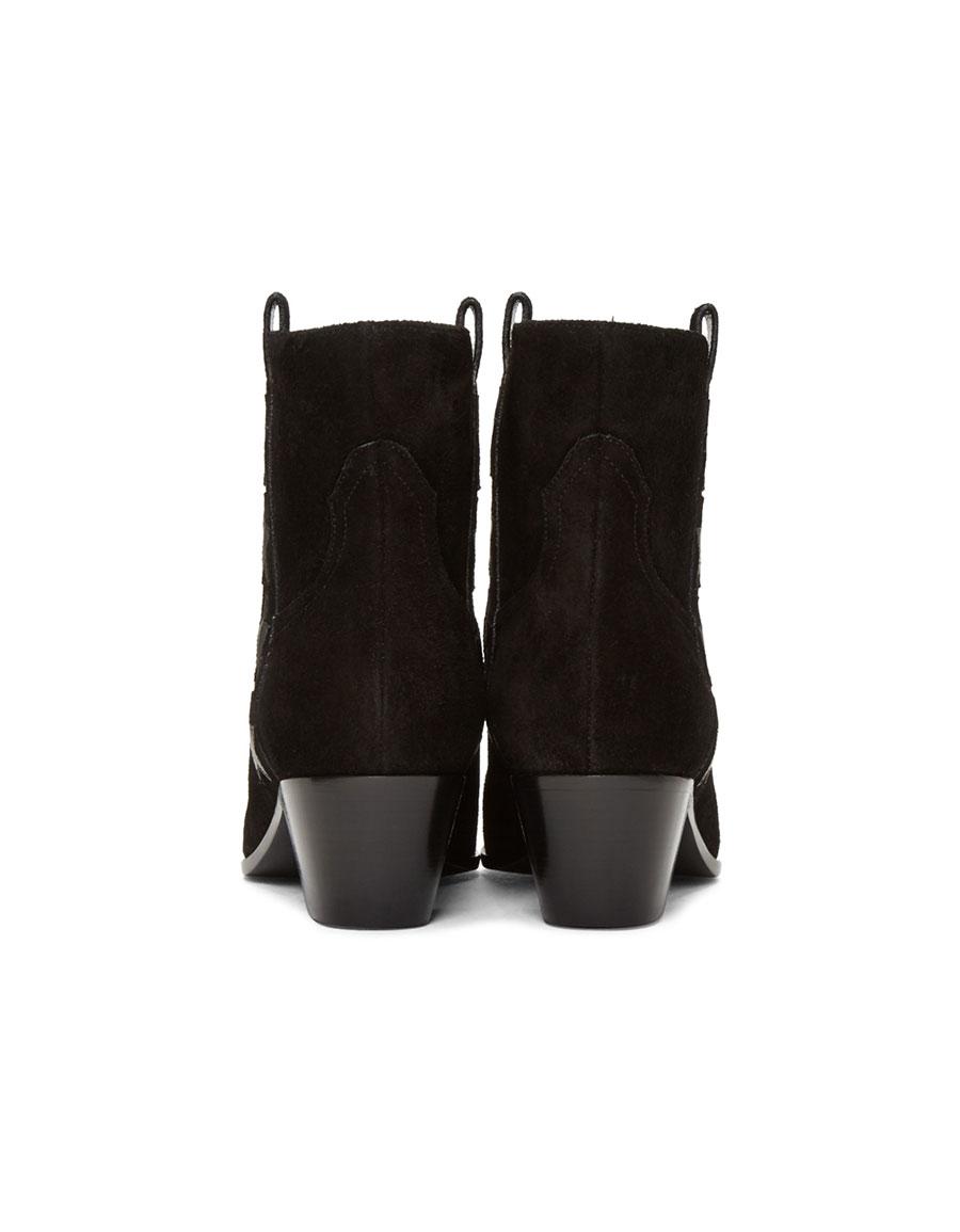 b6f21c67 SAINT LAURENT Black Suede Rock Boots · VERGLE