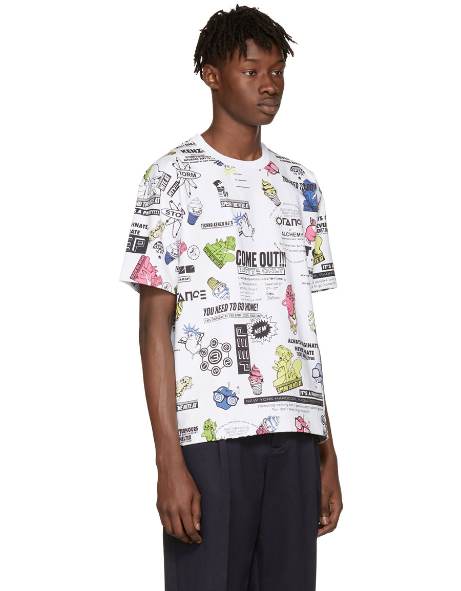 Kenzo White Flyers T Shirt Vergle Alchemy Navy