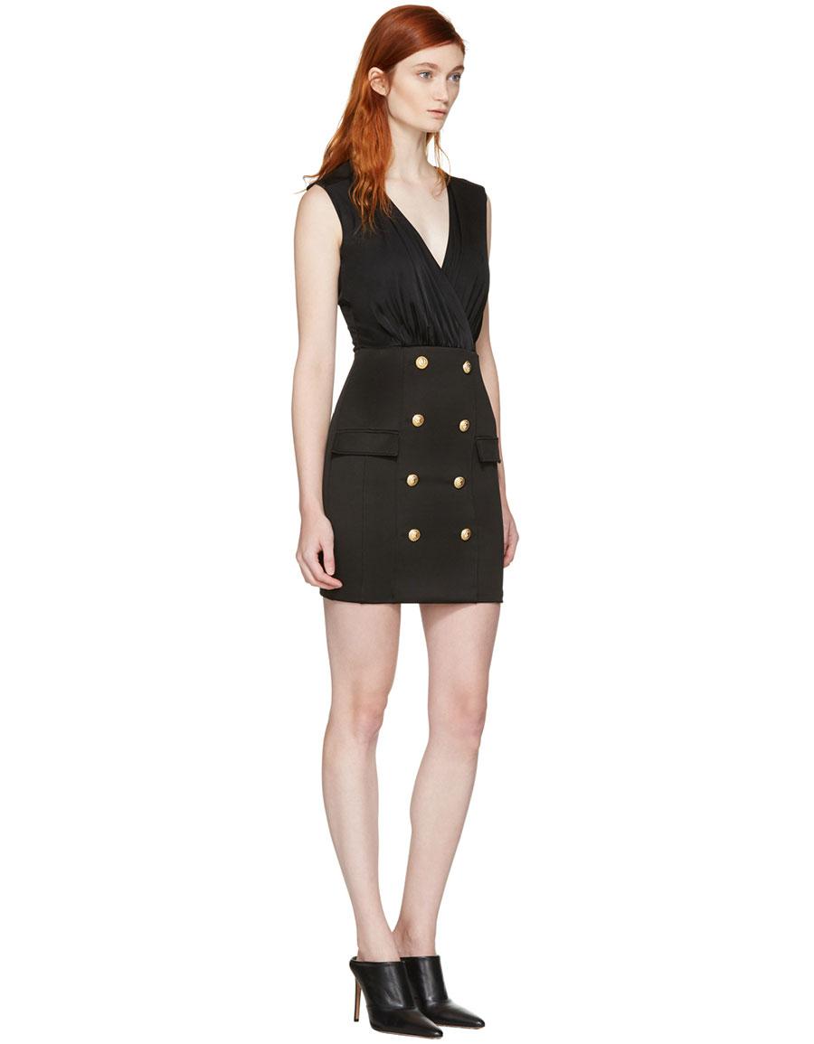BALMAIN Black Gold Buttons Dress