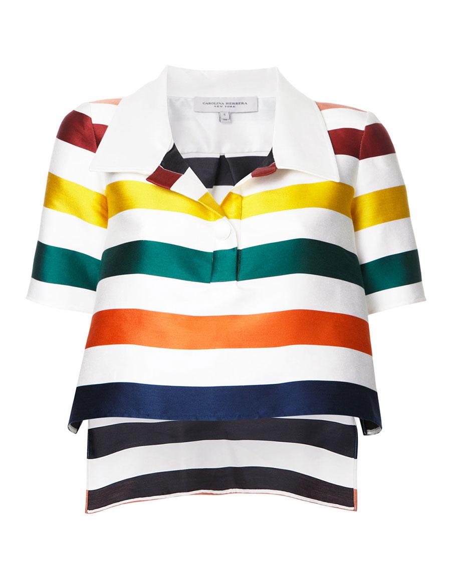 CAROLINA HERRERA Cropped striped blouse