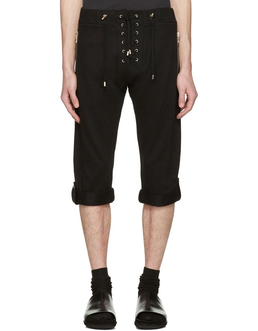 BALMAIN Black Lace Up Lounge Shorts