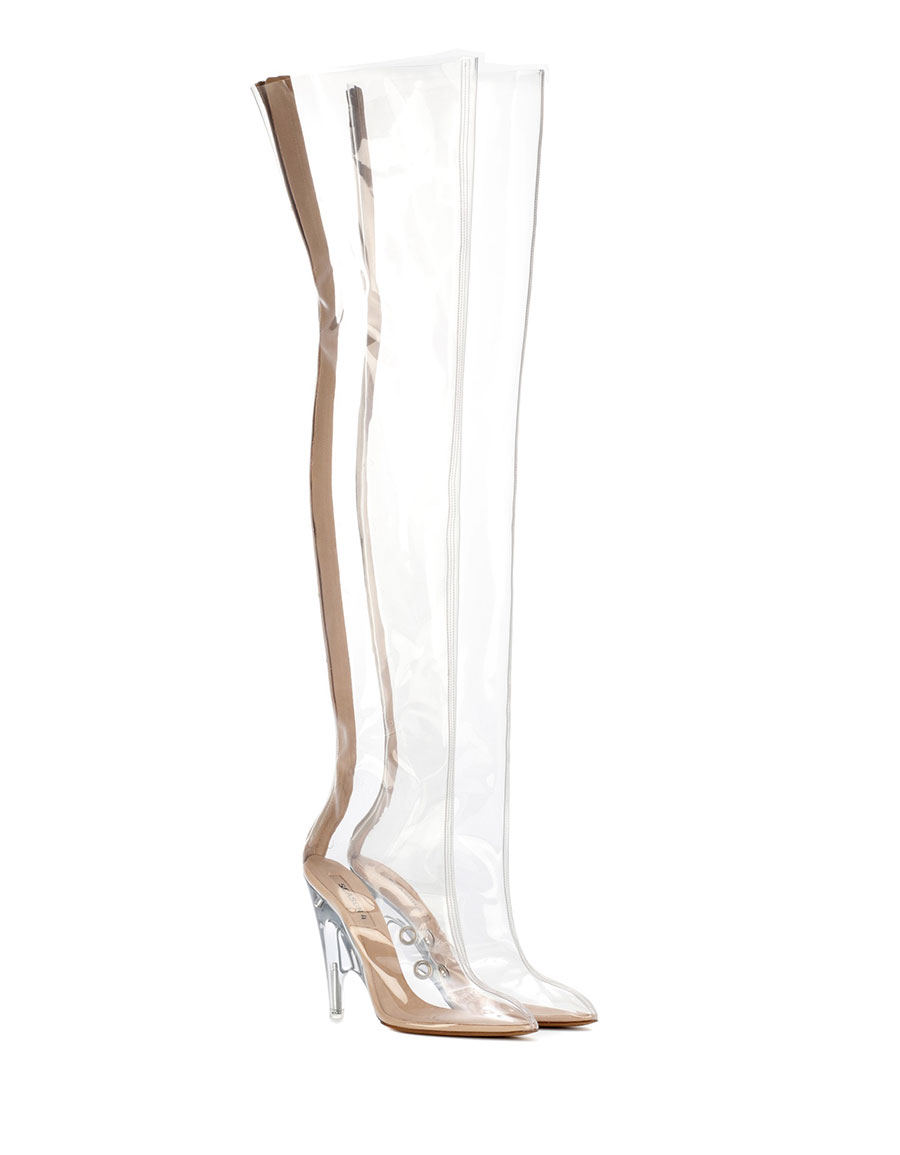 YEEZY Tubular clear over the knee boots