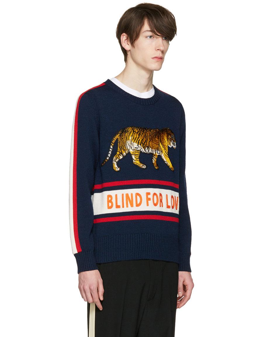 e11b63e113cb GUCCI Navy 'Blind for Love' Tiger Sweater · VERGLE