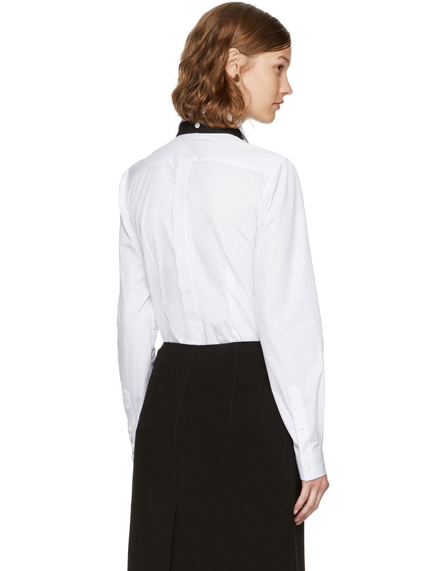 DOLCE & GABBANA White Bow Shirt