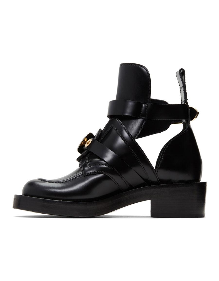 BALENCIAGA Black Buckles Boots
