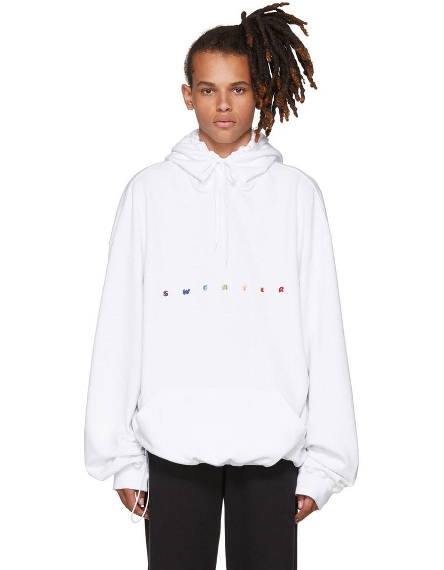 Vetements White Oversized Sweater Hoodie Vergle