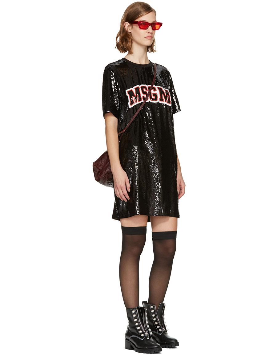 MSGM Black Sequinned Logo Dress