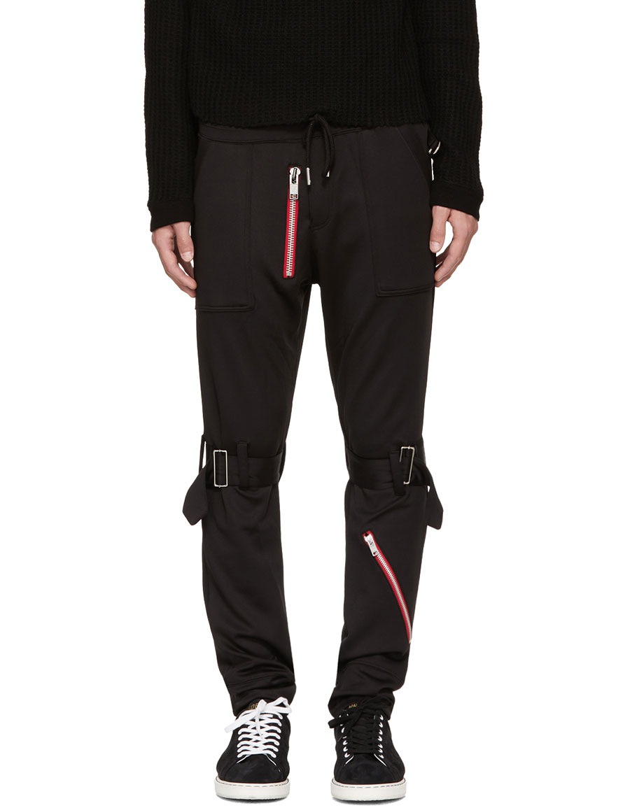 99% IS Black Bondage Zip Lounge Pants