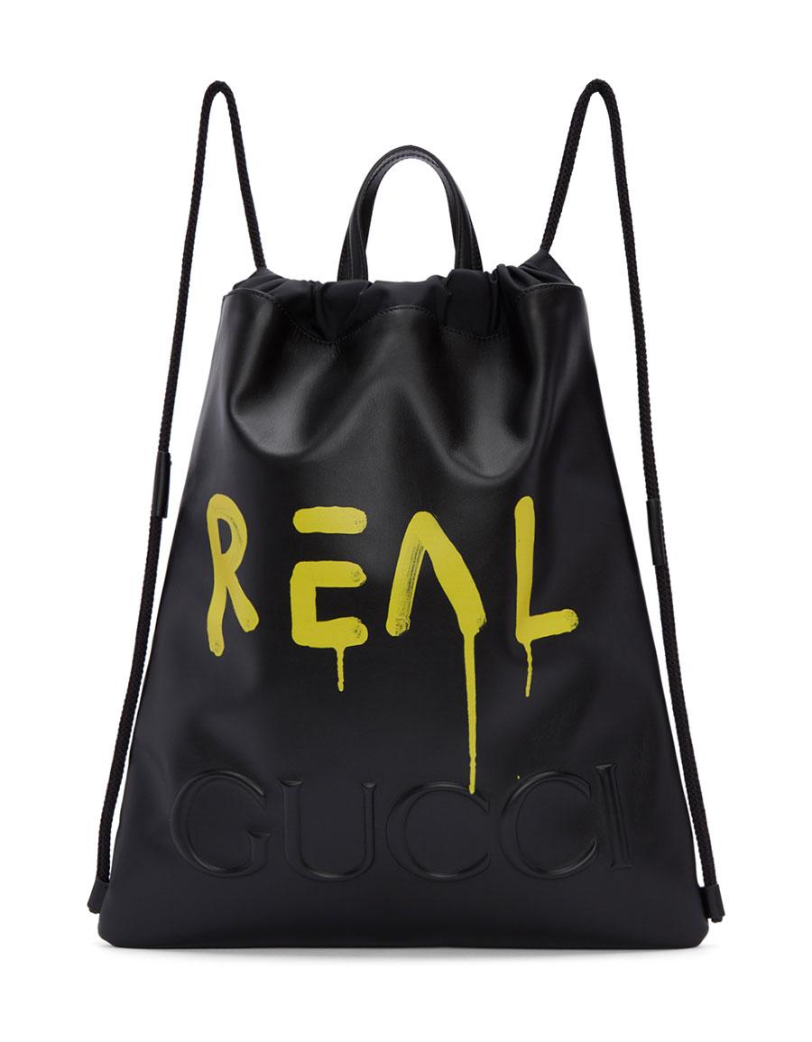dba2552e065d80 GUCCI Black GucciGhost Drawstring Backpack · VERGLE