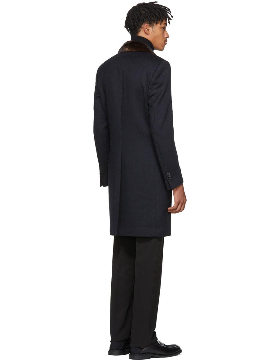 FENDI Navy Mink Collar Coat