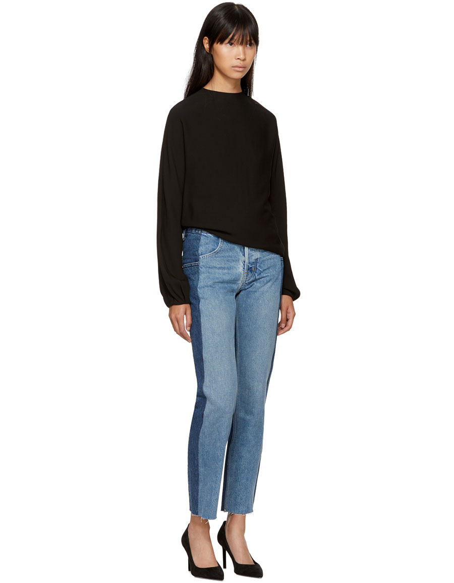 HELMUT LANG Blue Reconstructed Straight Fray Jeans