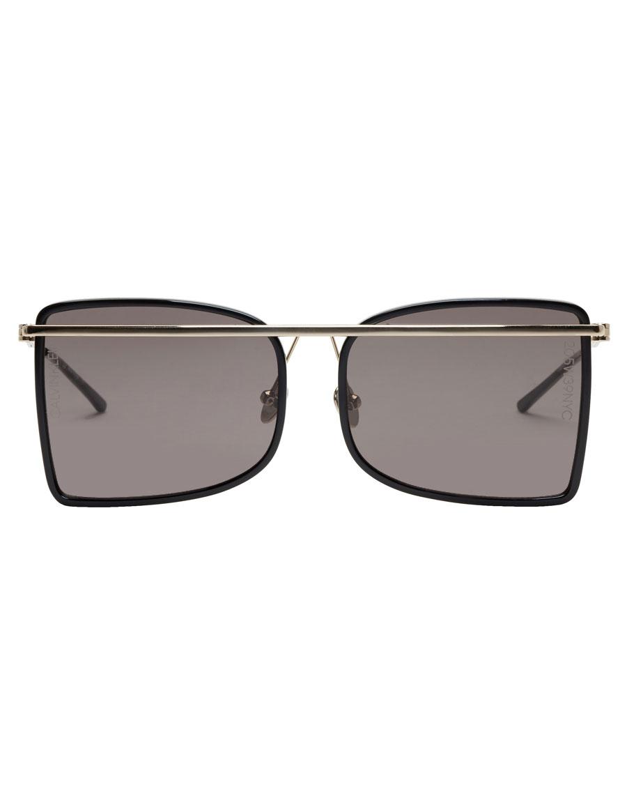 CALVIN KLEIN Black & Gold Rectangular Brow Bar Sunglasses