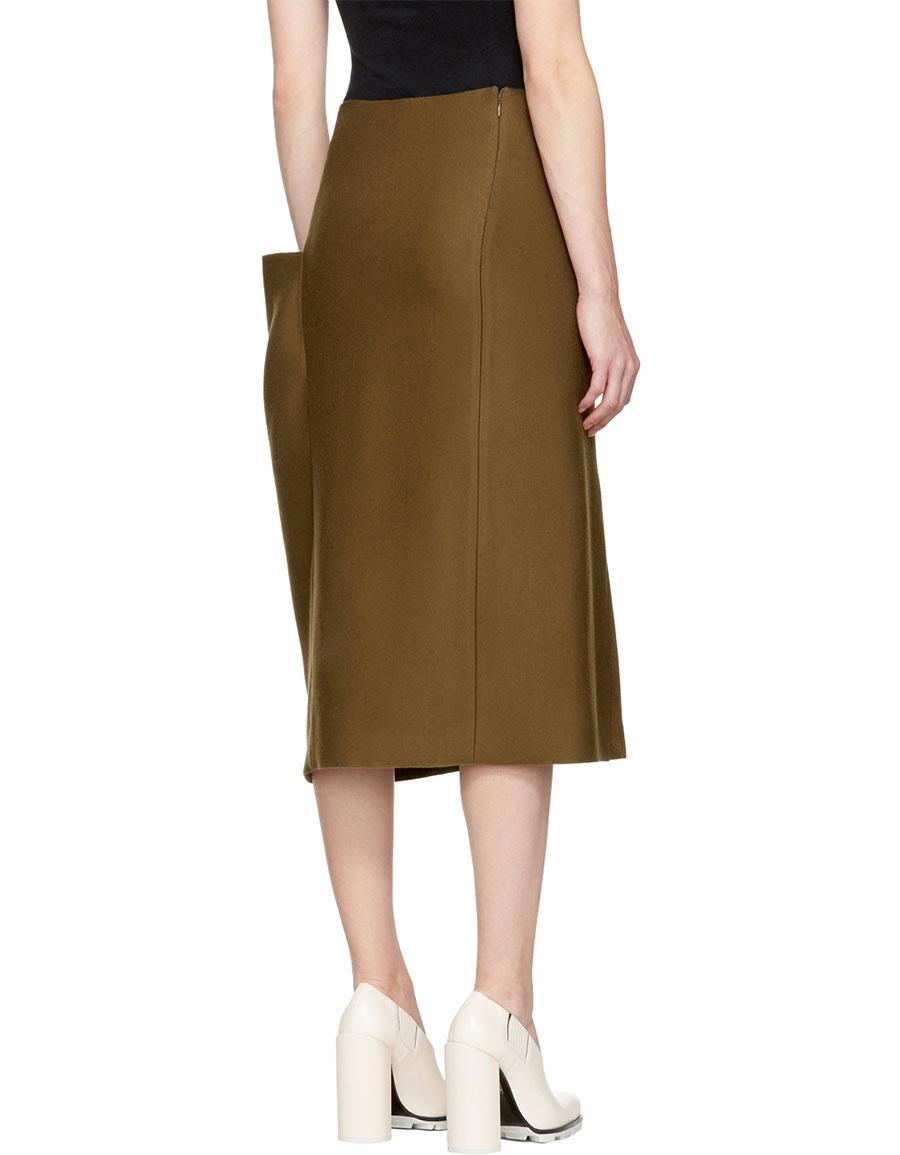 JIL SANDER Brown Asymmetric Pocket Skirt