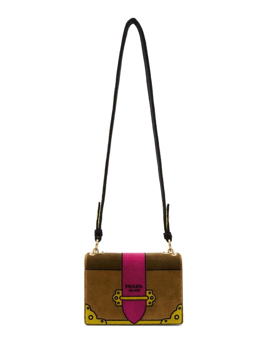 72230e8228cb6e PRADA Tan Velvet Trompe L'Oeil Cahier Bag · VERGLE