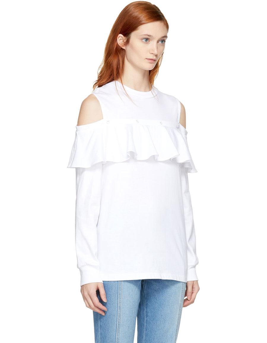 SJYP White Cut Out Shoulder Frill Sweatshirt