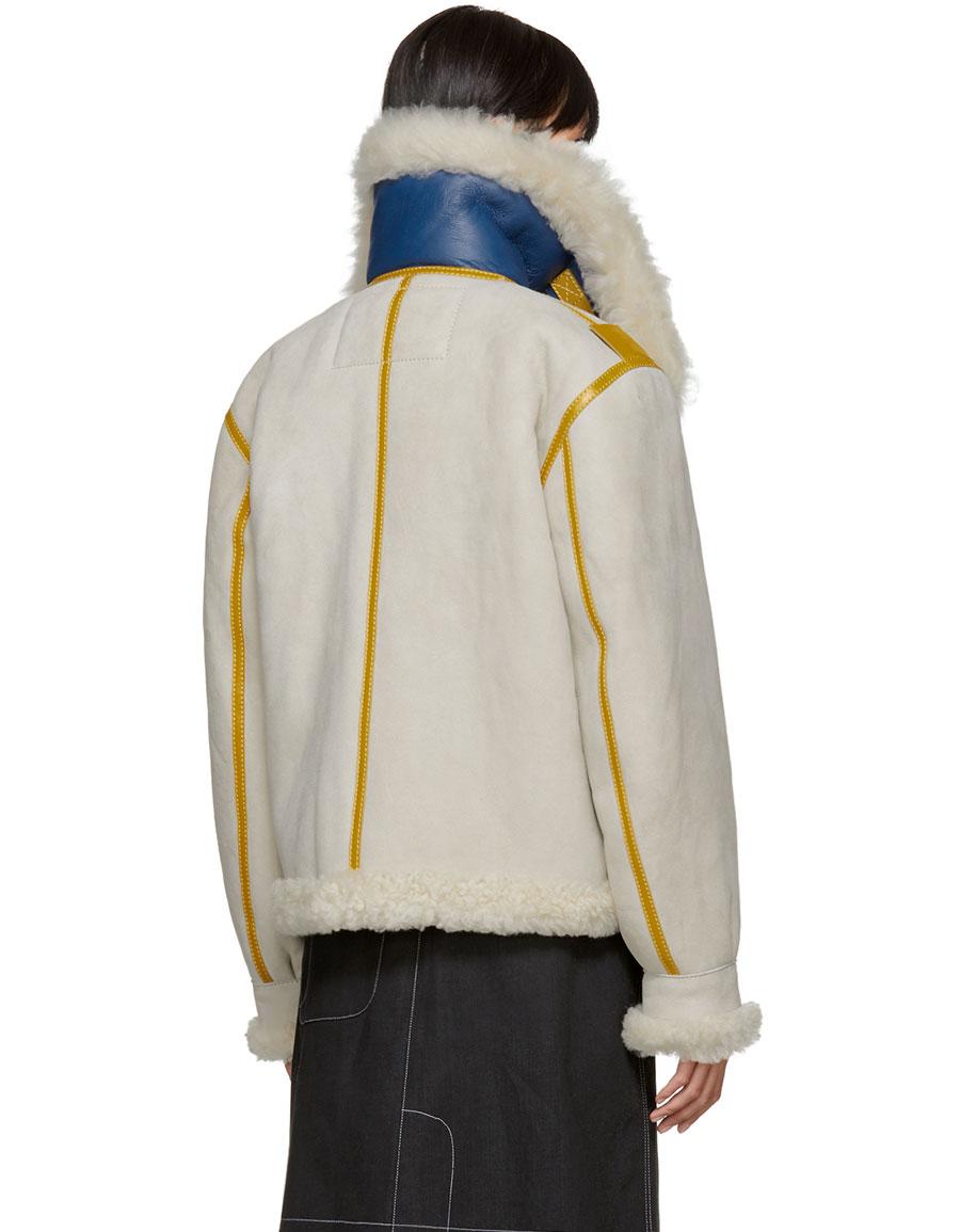 ACNE STUDIOS Grey & Yellow Shearling Lore Jacket