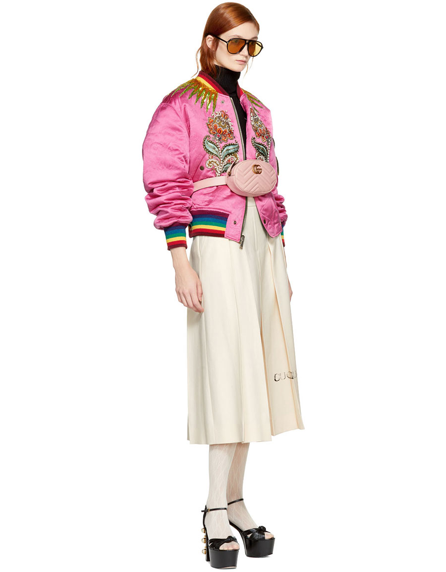 GUCCI Reversible Pink & Green Quilted Tiger Bomber Jacket