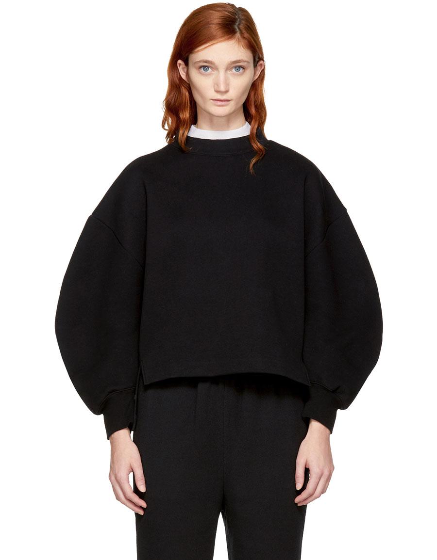 ENFOLD Black Double Neck Sweatshirt