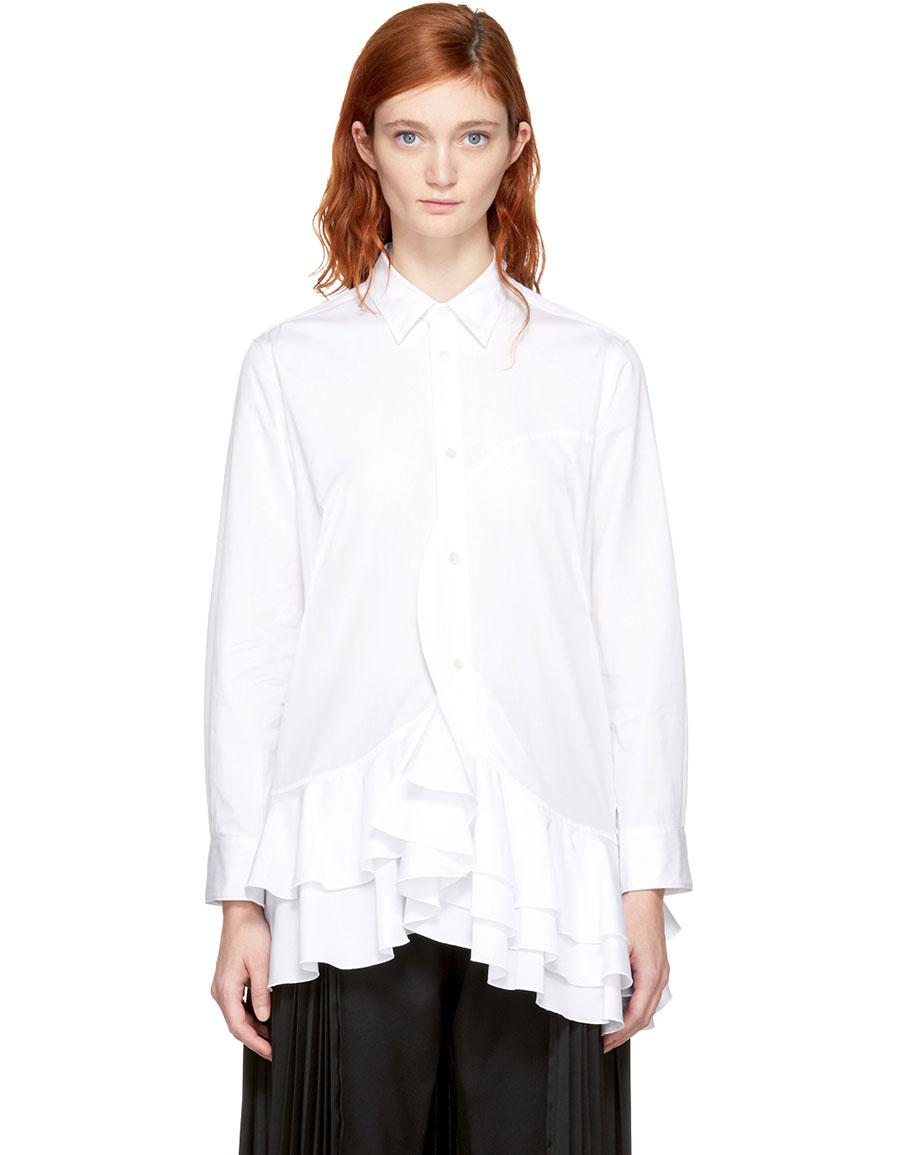 JUNYA WATANABE White Ruffled Hem Shirt