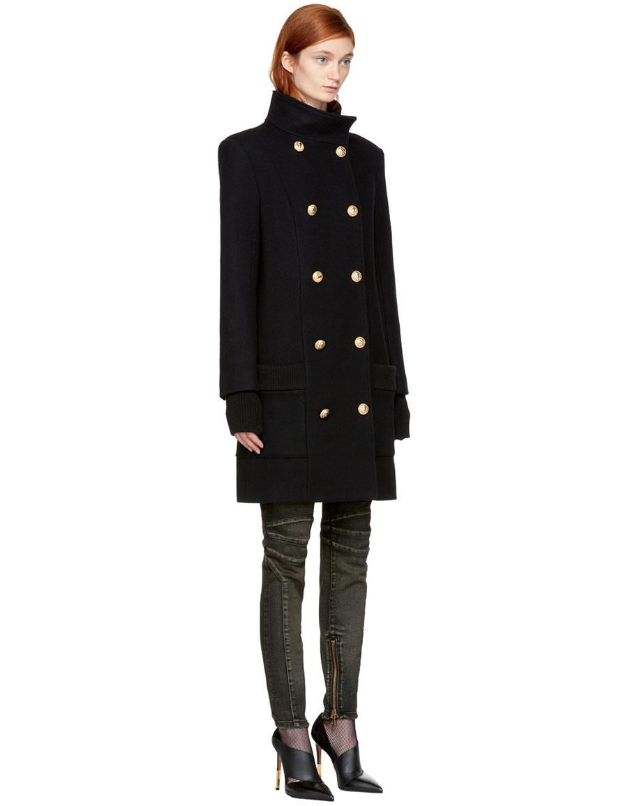BALMAIN Black Wool Funnel Neck Coat