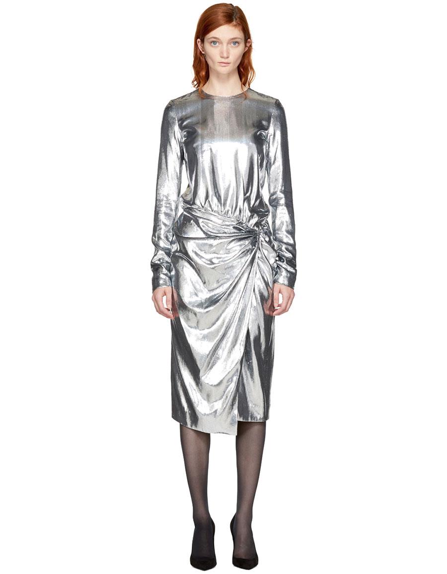 SAINT LAURENT Silver Metallic Velvet Dress