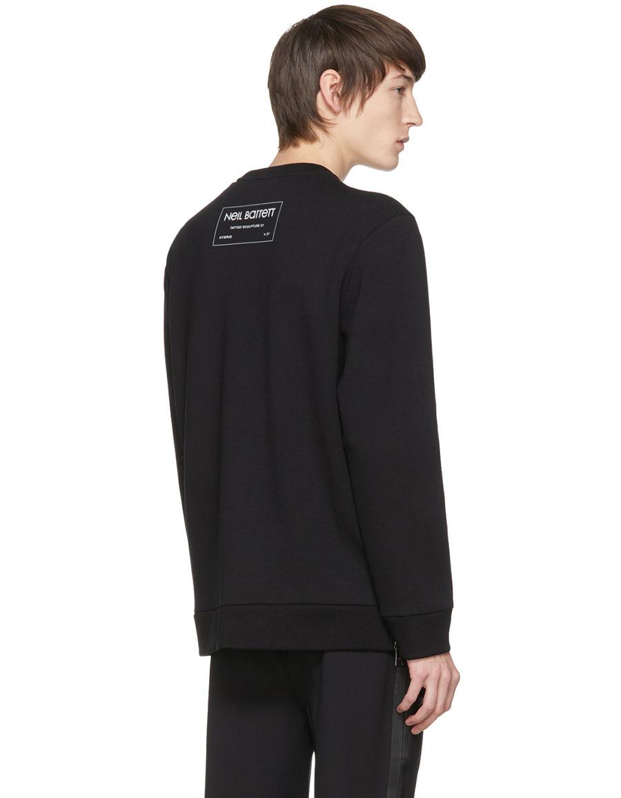 NEIL BARRETT Black Hybrid 'Tattoo Sculpture 01' Sweatshirt