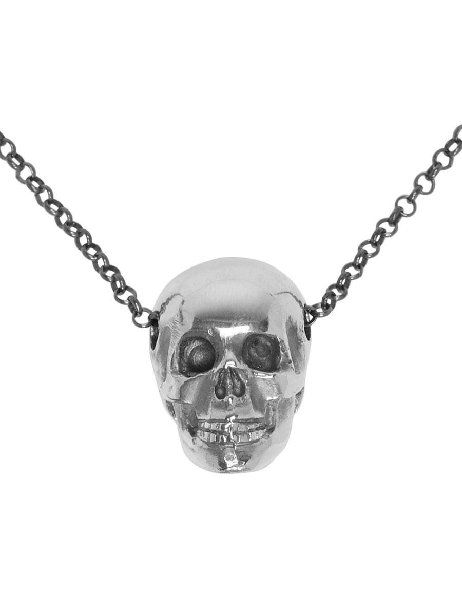 UGO CACCIATORI Silver Classic Skull Pendant Necklace