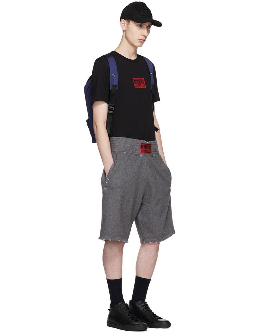 GIVENCHY Black Distressed Box Logo T Shirt
