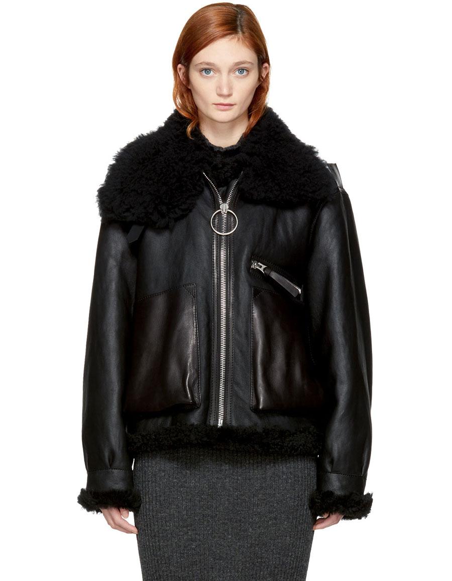 ACNE STUDIOS Black Leather & Shearling Lore Jacket