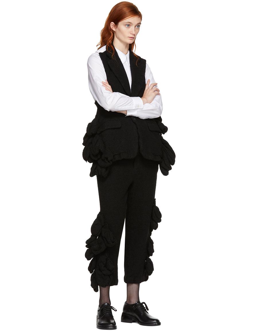 COMME DES GARÇONS Black Wool Bulbous Attachments Trousers