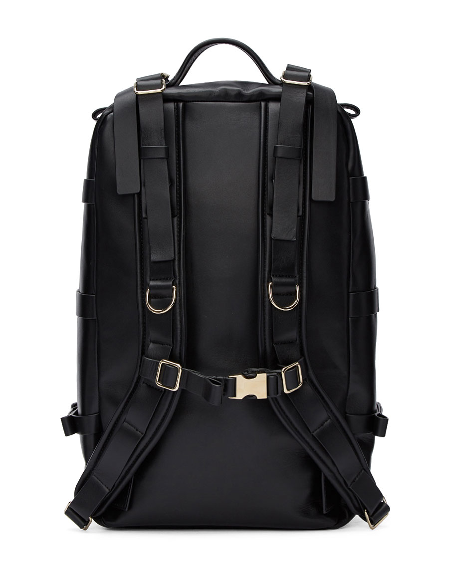 BALMAIN Black Leather Nomad Backpack