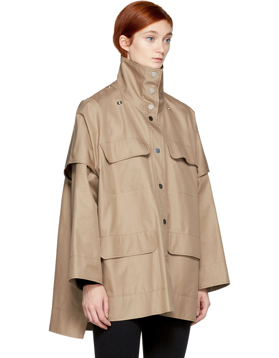 COURRÈGES Beige Convertible Sleeve Belted Coat