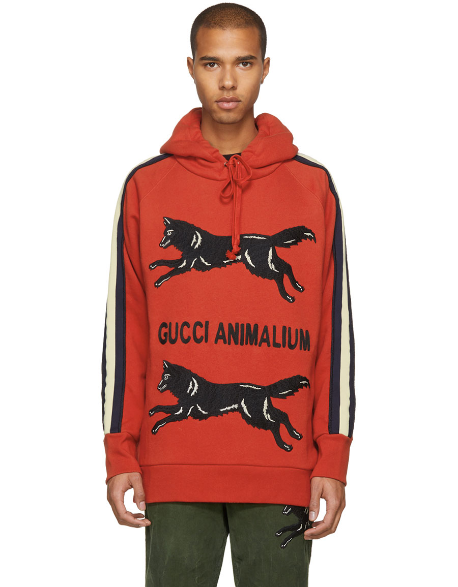 3a7b267c18e GUCCI Red  Gucci Animalium  Double Wolves Hoodie · VERGLE