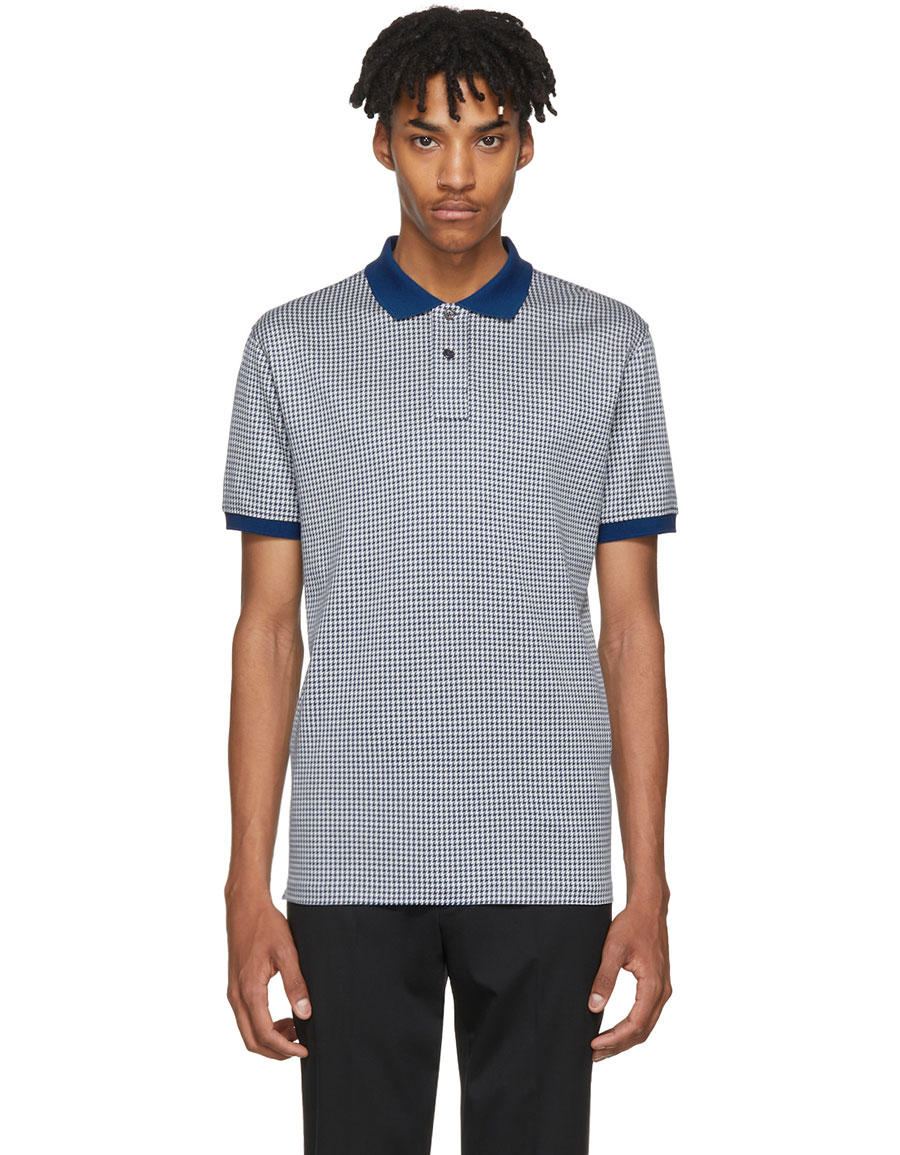 PAUL SMITH Blue & White Checkered Regular Fit Polo