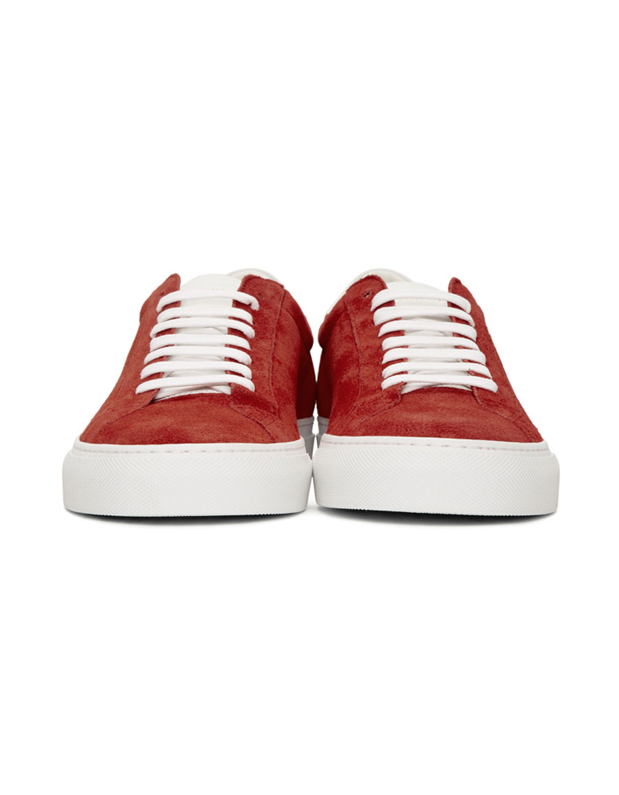 GIVENCHY Red & White Suede Urban Knots Sneakers