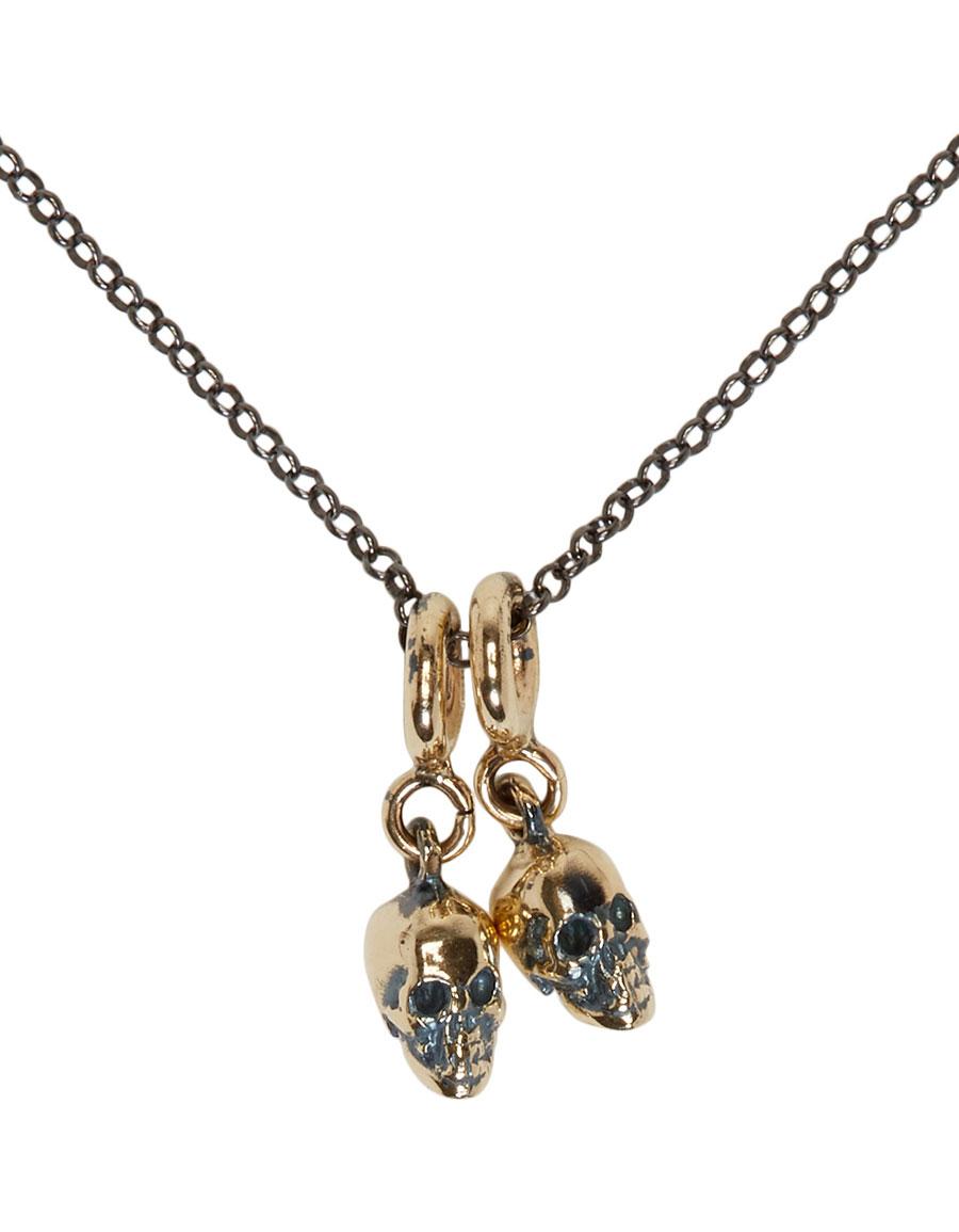 UGO CACCIATORI Silver & Gold Hanging Skulls Pendant Necklace