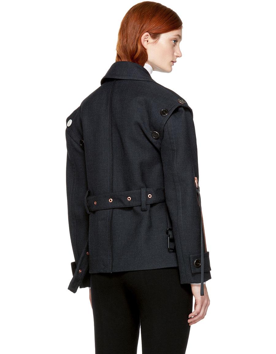 PROENZA SCHOULER Grey Asymmetric Short Jacket
