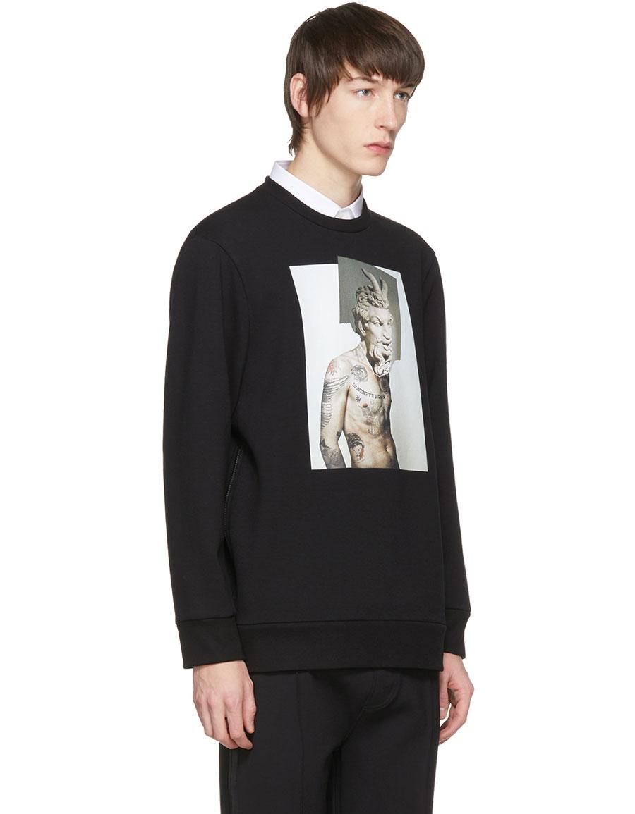 NEIL BARRETT Black Hybrid 'Tattoo Sculpture 02' Sweatshirt
