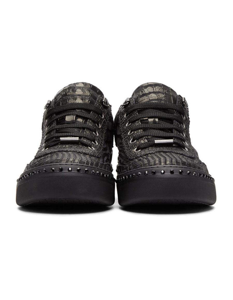 59844985d4f JIMMY CHOO Black Croc Crystal Ace Sneakers · VERGLE