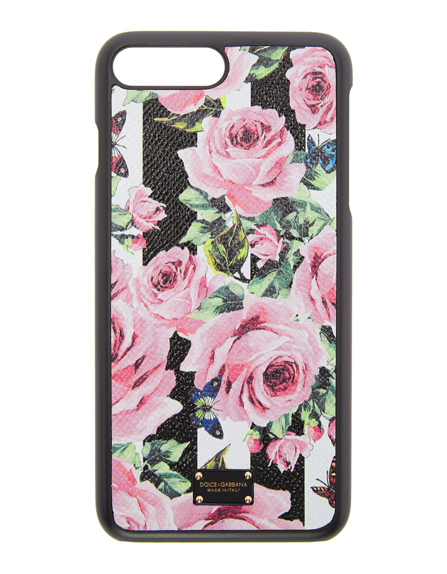 new arrival ae794 09976 DOLCE & GABBANA Black Stripes & Flowers iPhone 7 Plus Case · VERGLE
