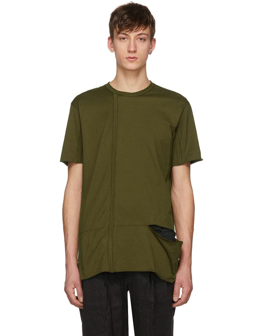 ZIGGY CHEN Green Vertical Stitching T Shirt