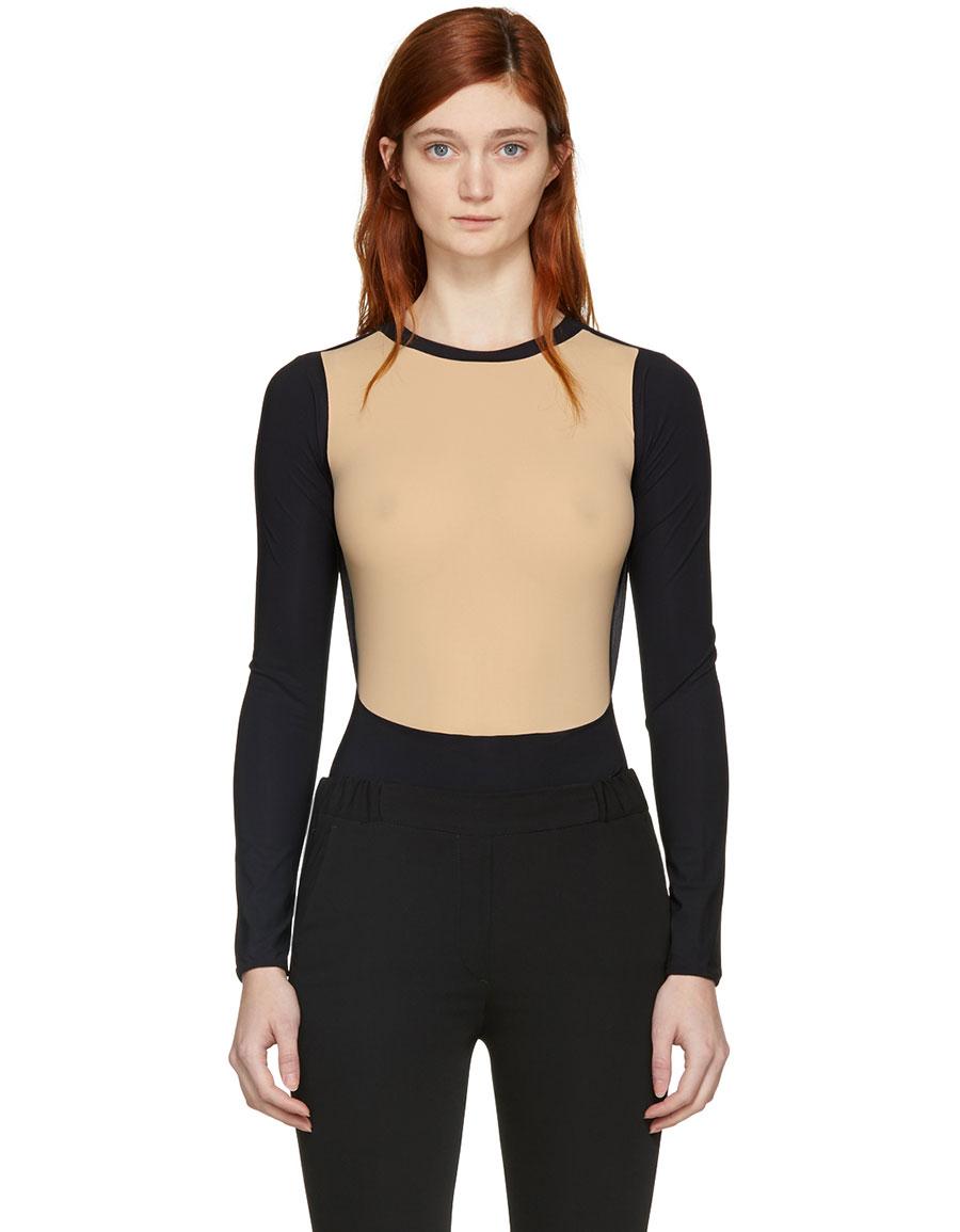 d2c1c2a566 MAISON MARGIELA Black   Beige Technic Lycra Bodysuit · VERGLE