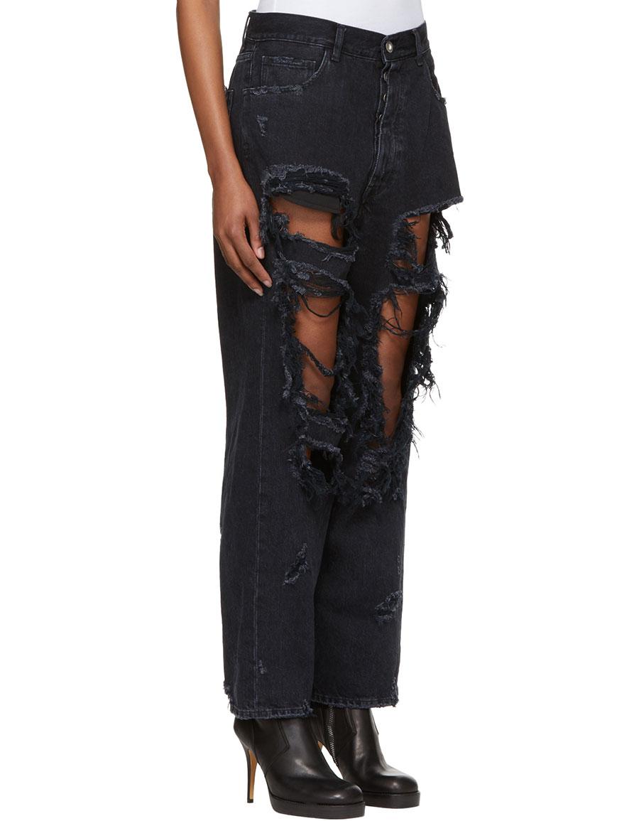 UNRAVEL Black Destory Baggy Jeans